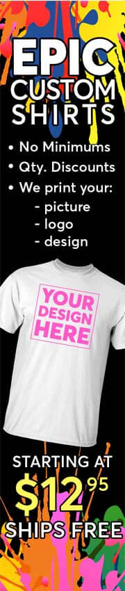 Custom Printed Shirts, no minimums, quantity discounts, free shipping, starting at $12.95