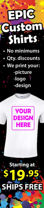 Custom Printed Shirts, no minimums, quantity discounts, free shipping, starting at $19.95